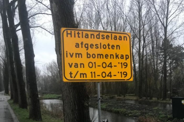 Start fase 1 reconstructie Hitlandselaan: Bomenkap 1 april